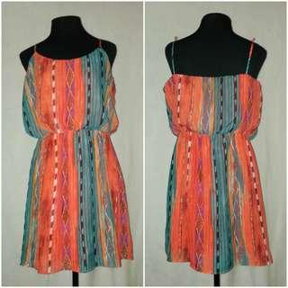 Orange Spaghetti Strap Dress Plus Size