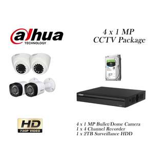 Dahua 4 x 1 Megapixels CCTV with 2 TB HDD