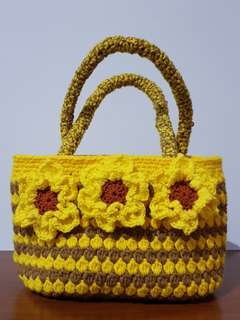 Handmade crochet sunflower bag