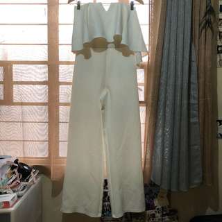White Tube Midi Jumpsuit