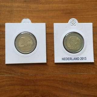 Netherlands 2 euro coin 2013