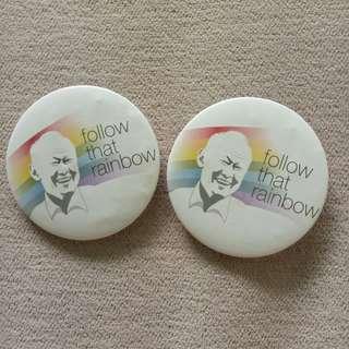 Follow the Rainbow Lee Kuan Yew Badges