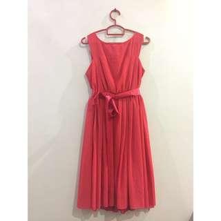Red Chiffon Dress with Ribbon