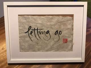 Authentic zen brush Hokusai rice paper calligraphy framed: letting go