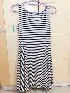 Sleeveless Dress Black and White Stripes