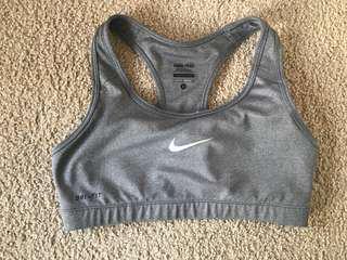 Nike Pro grey sports bra, size S