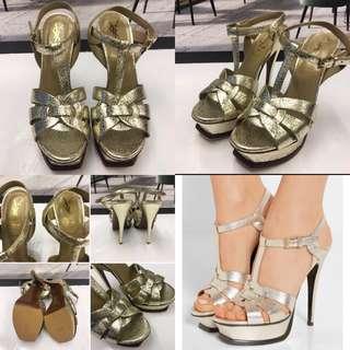 女神鞋 YSL gold leather platform high heel sandals size 36.5