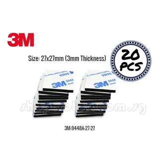 🚚 3M 9448A Double Adhesive Tissue Tape, 27x27mm Black (20 pieces). Code: 3M-9448A-27-27