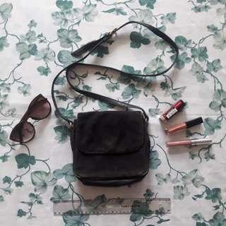 Black Suede Sling Bag