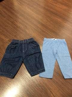 Pre-loves leggings and denim pants for baby girls