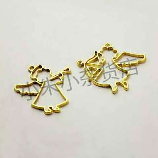 [PO] 2pcs Mix Angel Bezel Jewelry Setting Cabochon Pendant UV Resin Craft DIY Cupid Charm Frame