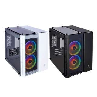 Corsair CRYSTAL SERIES 280X RGB TEMPERED GLASS TG Micro ATX Case with 3 x tempered glass panels, RGB lighting and an innovative dual-chamber internal layout  — Color : Full White or Black Matx