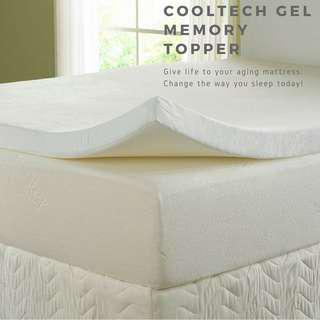 Premium CoolTech Gel Memory Mattress Topper Twin/Single 2""