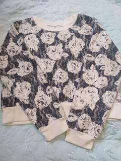 Semi-Cropped Floral Sweater