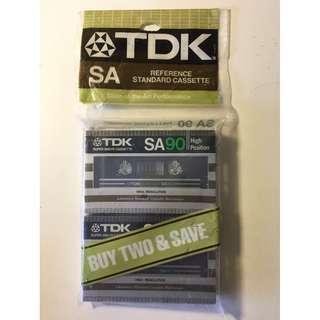 Vintage Cassette Tape TDK SA 90 2 pack