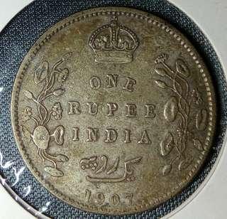1907年印度1盧比銀元