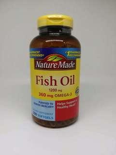 美國Nature Made Fish Oil深海魚油丸200粒