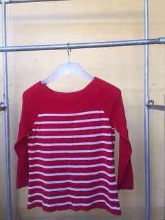 Red Striped Knitted Longsleeves/Sweater Top