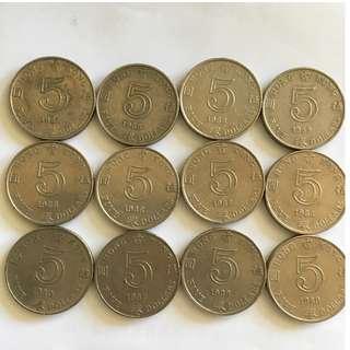 香港 五蚊 五元  伍圓 1980 1982 1988 1989
