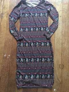 Aztec Print Midi Dress, Fits S-M