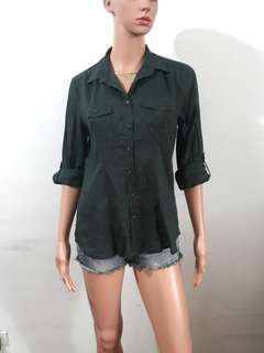 (XS) George army reen polo top