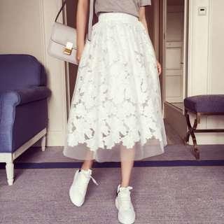 蕾絲拚紗鬆緊裙