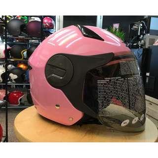 🚚 ZEUS 瑞獅 ZS-612A 612A 素色 3/4罩 半罩 內建墨片 安全帽 粉紅