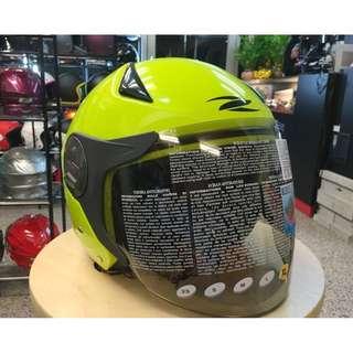🚚 ZEUS 瑞獅 ZS-612A 612A 素色 3/4罩 半罩 內建墨片 安全帽 瑩光黃