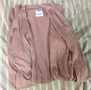 🚚 Pull&bear 藕粉色柔軟薄長外套
