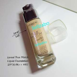 Used #N1 Loreal Liquid Face Facial Foundation Makeup L'oreal True Match SPF 16 PA++ Sellzabo Cosmetics