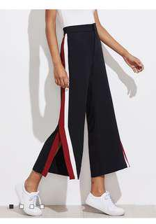 Black / red / white tailored high waist pants