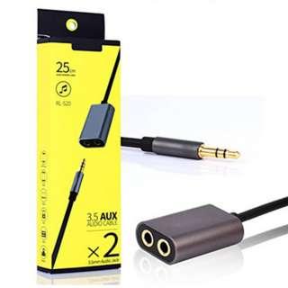 Remax 3.5mm Jack Audio Cable Dual Port Audio Splitter RL-S20 black