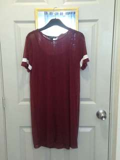 Maroon sheer dress