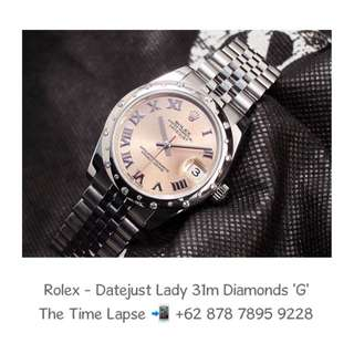 Rolex - Datejust Lady 31m, Roman Pink Dial, Diamonds Bezel Stainless Steel 'G'