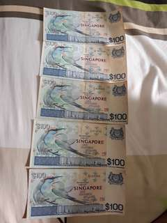 Old Currency $100 X 5 ( Rare Bird Series)