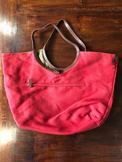 Reversible Red and Beige Bag