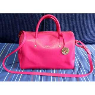Pre loved Furla Boston Bag Saffiano Leather in Fuschia