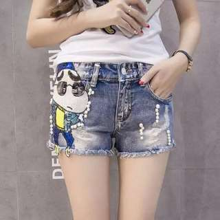 PO Labixiaoxing Sequins Denim Short
