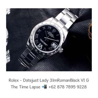 Rolex - Datejust Lady 31m, Roman Black VI Diamonds Dial, Diamonds Bezel Stainless Steel 'G'