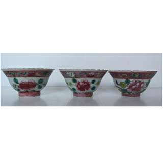 3 Straits Chinese, Peranakan Nonya, White Base Porcelain Cup With Peony Flower design.