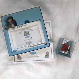 ME TO YOU Bear Photo Frame + Figurine Bundle in Original Box