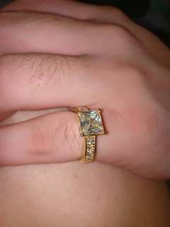 Princess cut 2.13Cts Moissanite Engagement Ring