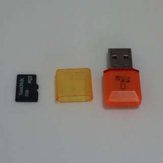 USB 2.0 Micro SD Memory Card Reader with 2GB Micro SD