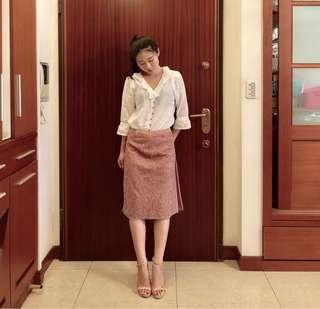 🚚 粉色變形蟲花紋中長窄裙