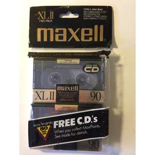 Vintage Cassette Tape Maxell XL-II 90 2-pack