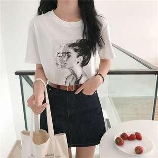 韓系個性印花圓領短袖T恤百搭寬鬆上衣