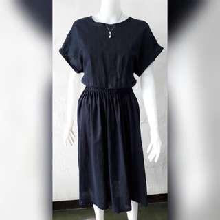 Uniqlo insp Navy linen midi dress