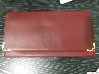 絶版經典正貨卡地亞真皮手提包-CARTIER Vintage Red Bordeaux Leather Flap Clutch Bag Monogram Men / Women