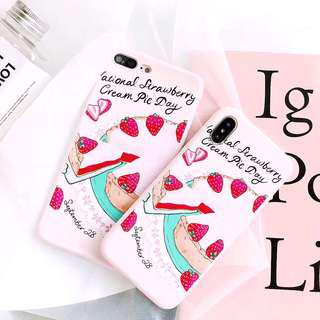 (PO) Strawberry Cream Pie Cake Graphic iPhone Casing