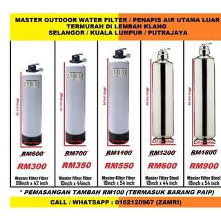 water filter outdoor master size 10 inch x 54 inch stainless steel model with installation / penapis air utama luar rumah saiz 10 inci x 54 inci jenis stainless steel siap pasang di ALAM IMPIAN SELANGOR (ZAMRI WATER FILTER)